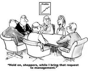 Cartoon of businesswoman bringing shopper request to team.