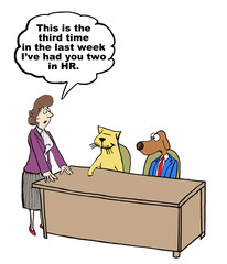 Cartoon of HR businesswoman with misbehaving dog and cat.