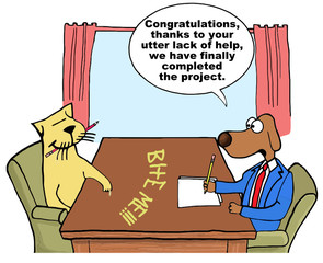 Cartoon of business dog saying cat did not help on project.