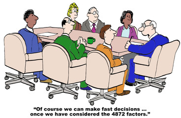 Cartoon of businessman saying a lot of factors before decision.