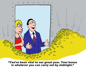 Cartoon of businessman rewarding businesswoman with gold.