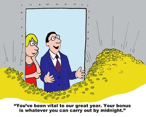 Cartoon of businesswoman receiving large performance bonus