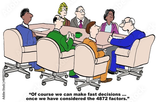 Cartoon of businessman saying a lot of factors before decision. - 80913706