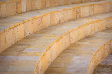 Part of stone circled stairs in the amphitheater, outdoors