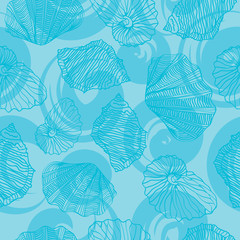 Shells and waves curls. Seamless vector pattern.