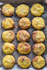 Baked Potato Patties. Overhead View