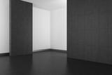 Fototapety empty modern bathroom with gray tiles and dark floor