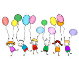 Fototapety happy kids with balloons