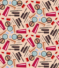 Decorative cosmetic icons background. Vector illustration