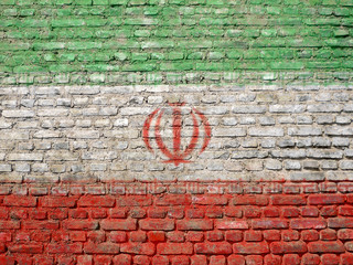 Iran flag painted on wall