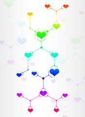 Abstract composition of colored lines and hearts