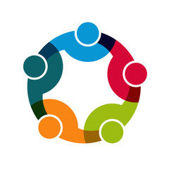 Teamwork Social Network, Group of 5 people business
