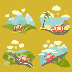 Summer vacation trip icons set