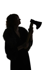 Female silhouette with an axe