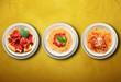 tris di pasta italiana al pomodoro