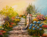 Oil Painting - stone stairs in the forest - 80917138