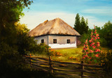 Fototapety Oil Painting - house in the forest