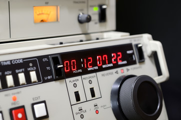 Professional video recorder Betacam SP. Control panel.