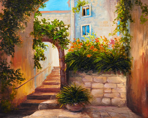 oil painting, summer street, blooming flowers.Colorful abstract