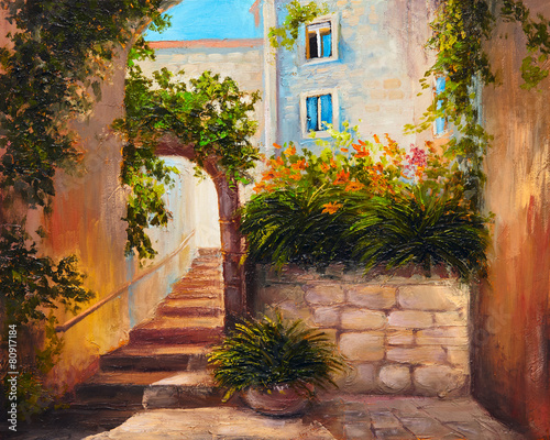 oil painting, summer street, blooming flowers.Colorful abstract - 80917184