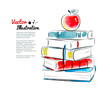 Red apple on books. - 80917534