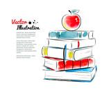Fototapety Red apple on books.