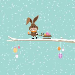 Bunny Sleigh Snow Easter Eggs Retro