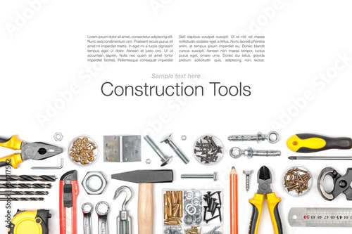 set of tools on white background top view - 80917562