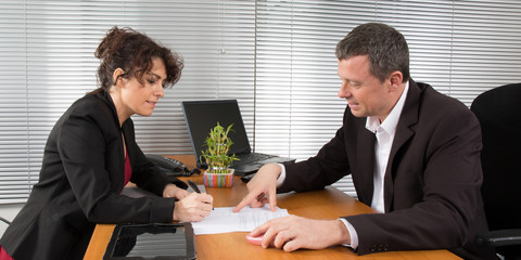 Confident business partners at office