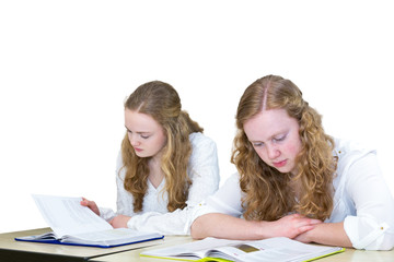 Two caucasian teenage girls studying books for education