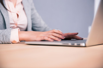 Closeup image of a female hands using laptop