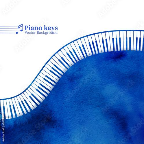 Piano keys watercolor background.