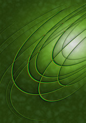 Oval striped segments on shiny green background