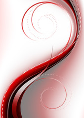 Bright red curve covered curlicues on a pink background