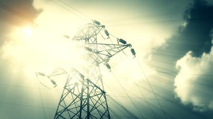 Lightning strike High-voltage tower sky background 7