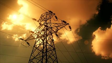 Lightning strike High-voltage tower sky background 4