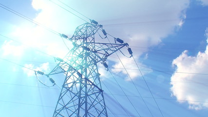 Lightning strike High-voltage tower sky background 3