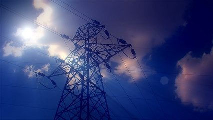 Lightning strike High-voltage tower sky background 2