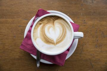 capuccino coffee heart low light