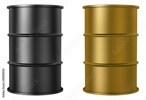 Oil barrels isolated on white background, black and gold color - 80918930