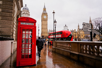 Traditional red telephone box in the rainy day