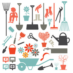 Vector Gardening Icons - Tools Set Isolated on White Background