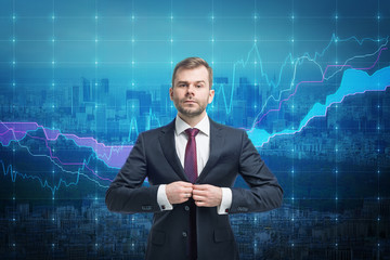 Trader businessman stand over stock market screen
