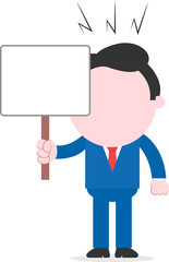 Angry businessman holding placard