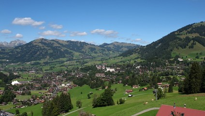 Famous village and holiday resort Gstaad in summer