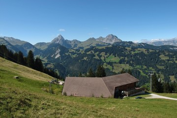 Wispile cable car and mountains, summer scene in Gstaad