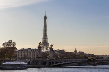 Autumn golden sunny sunset in Paris, France