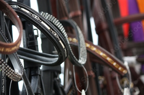 canvas print picture Close up of horse bridles in shop
