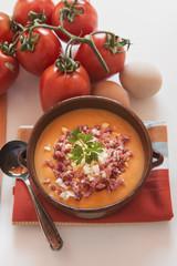 Tomato salmorejo soup in a bowl, spanish food