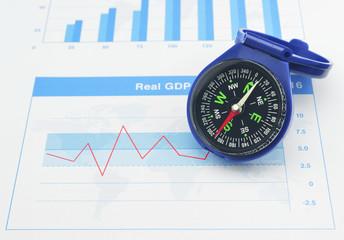 Blue compass on graph paper, Business concept